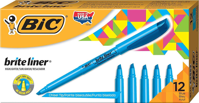 Brite Liner Highlighter, Chisel Tip, Fluorescent Blue Ink, 12 per Pack (BL11-BE), Pack of 6 by BIC