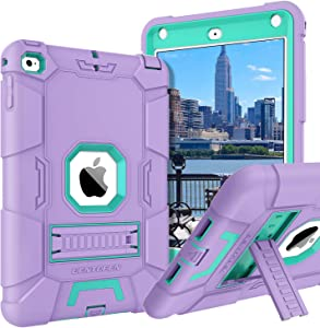 BENTOBEN iPad Mini 5 Case, iPad Mini 4 Case, Slim Fit Soft Silicone Protection Hybrid Hard PC Shockproof Rugged Tablet Kids Cover for iPad Mini 7.9 A2133, A2124, A2125, A2126, A1538,A1550, Purple/Mint