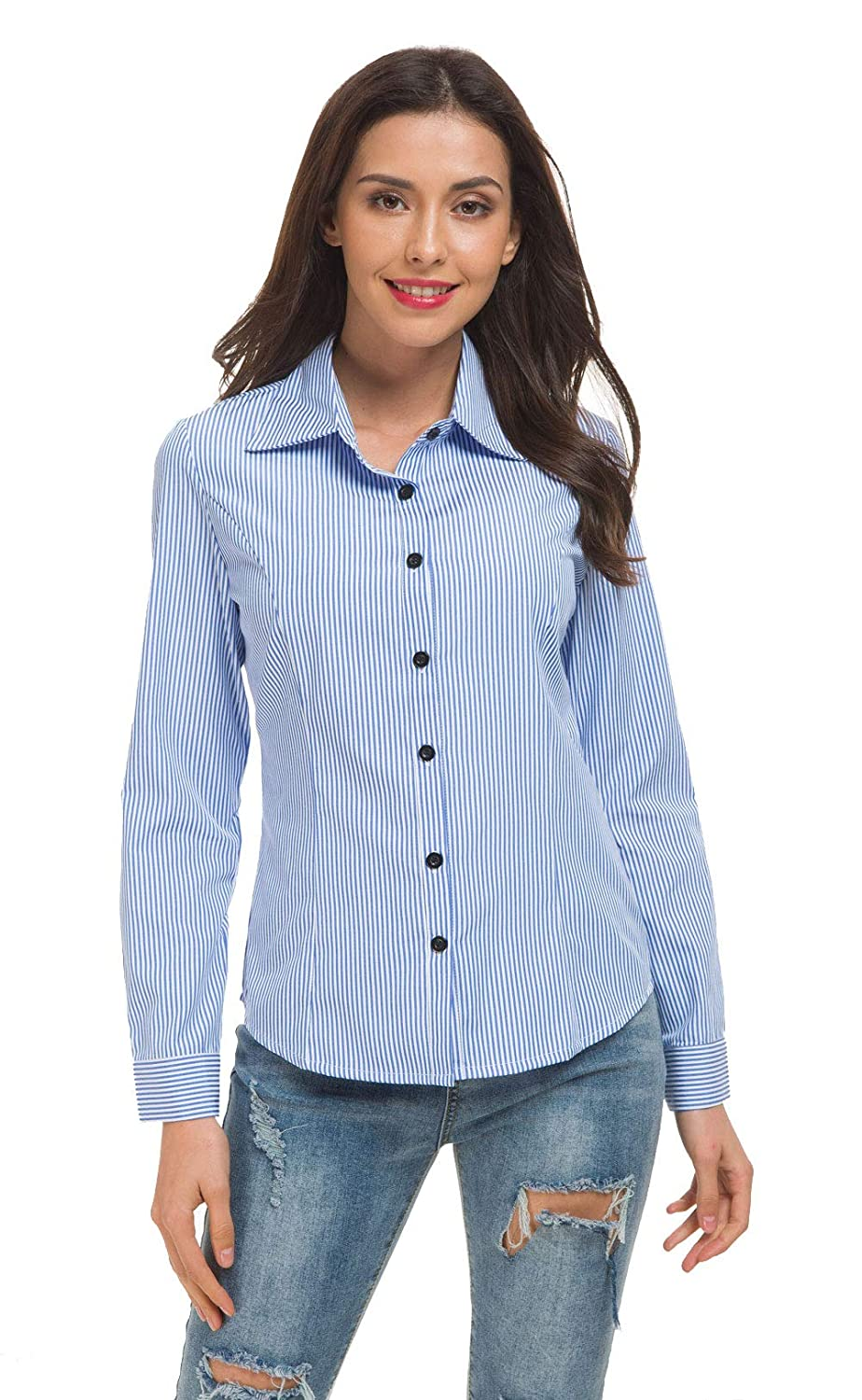 Double Plus Open Womens Collared Basic Tailored Vertical Stripes