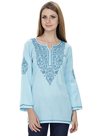 9e91ce1ecc Nazrana Blue Lucknowi Chikankari Murri Extra Large Kurti: Amazon.in ...