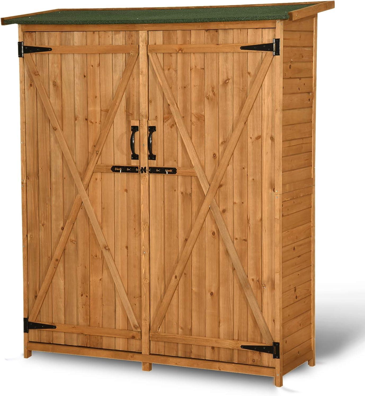 vidaXL Outdoor Wooden Storage Shed w// Stool Backyard Garden Tool Organizer