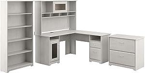 Bush Furniture Cabot L Desk with Hutch, Lateral File and 5 Shelf Bookcase, Linen White Oak