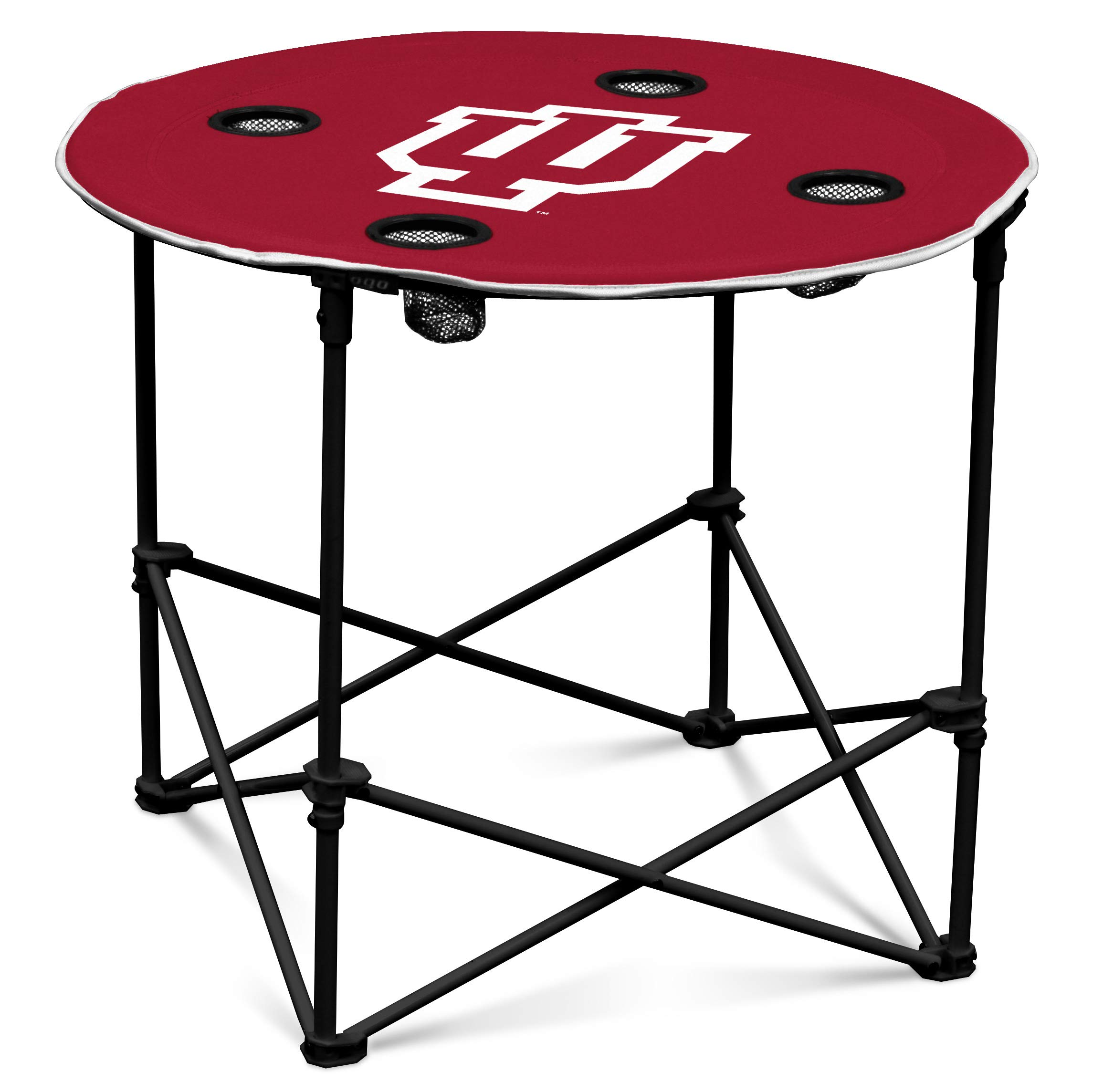 Indiana Hoosiers Collapsible Round Table with 4 Cup Holders and Carry Bag by Logo Brands