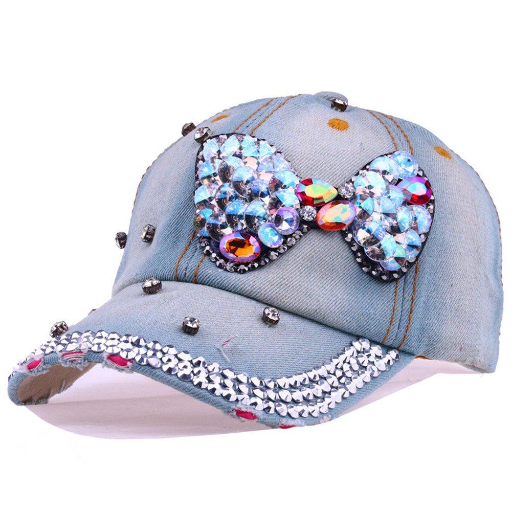 Amazon.com  CRUOXIBB Bowknot Baseball Cap Women Colorful Crystal Rhinestone  Snapback Caps Bling Denim Hat ( 1 Bowknot)  Clothing f4e17f24732