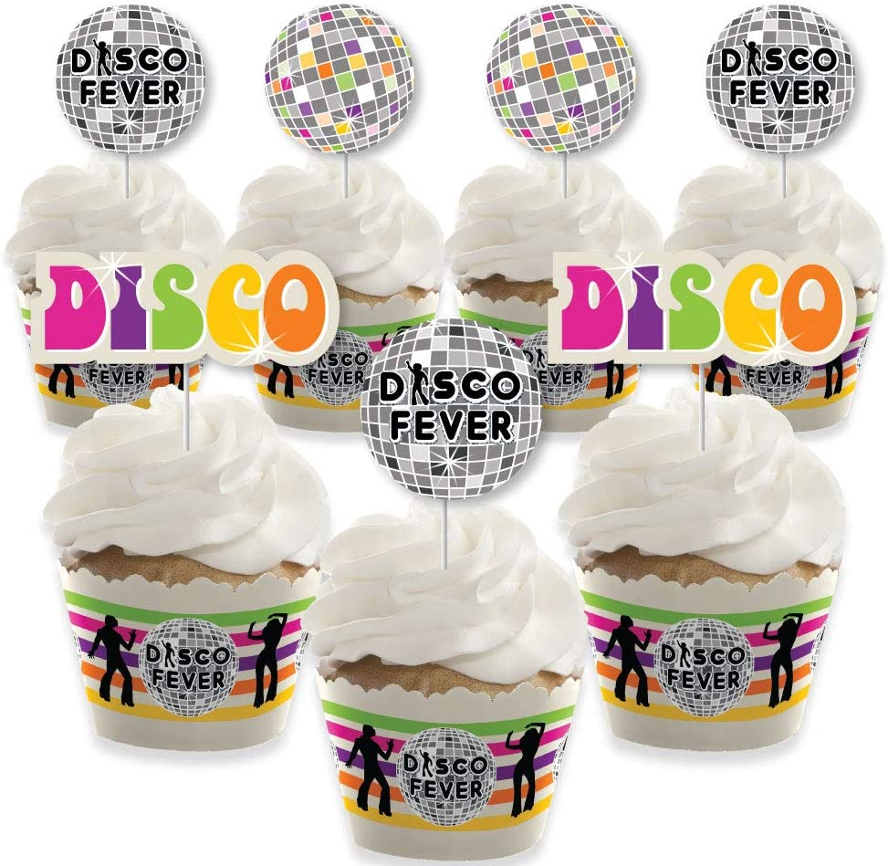 70's Disco - Cupcake Decoration - 1970s Disco Fever Party Cupcake Wrappers and Treat Picks Kit - Set of 24