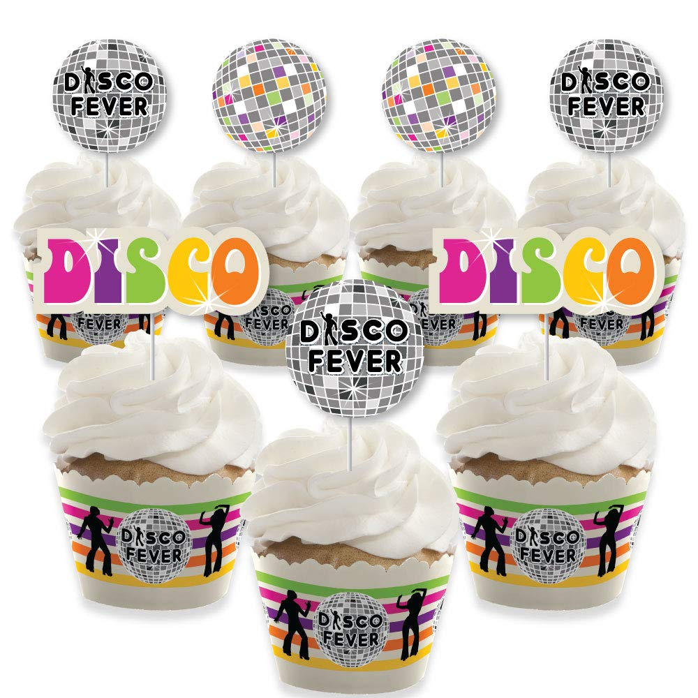 70's Disco - Cupcake Decoration - 1970s Disco Fever Party Cupcake Wrappers and Treat Picks Kit - Set of 24 by Big Dot of Happiness