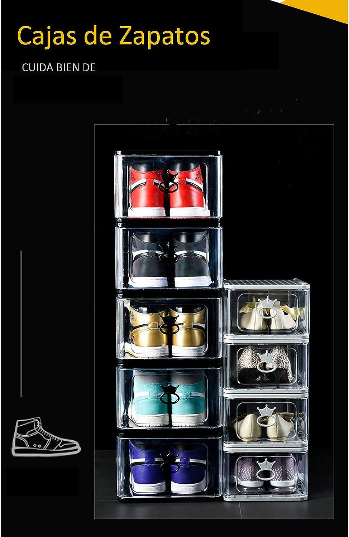 Mujer y AJ,Negro Cajas de Zapatos de Pl/ástico 4 Pcs,Organizador de Almacenamiento de Zapatos Plegables y Apilable,con Puerta Delantera Transparente,Talla hasta 48,16 L,27x 33 x 18 cm,para Hombre
