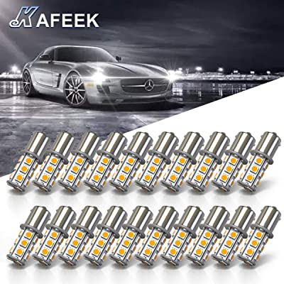 KAFEEK 20× Super Bright 1156 1141 1003 7506 BA15S LED Bulbs 18-5050 Chipset 12 Volt RV Camper Interior Lights, Warm White: Automotive