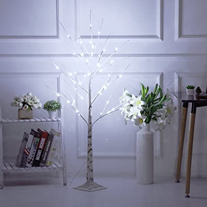 bolylight led birch tree 4ft 48l led christmas decorations lighted tree decor for bedroomparty - Amazon Christmas Decorations Indoor