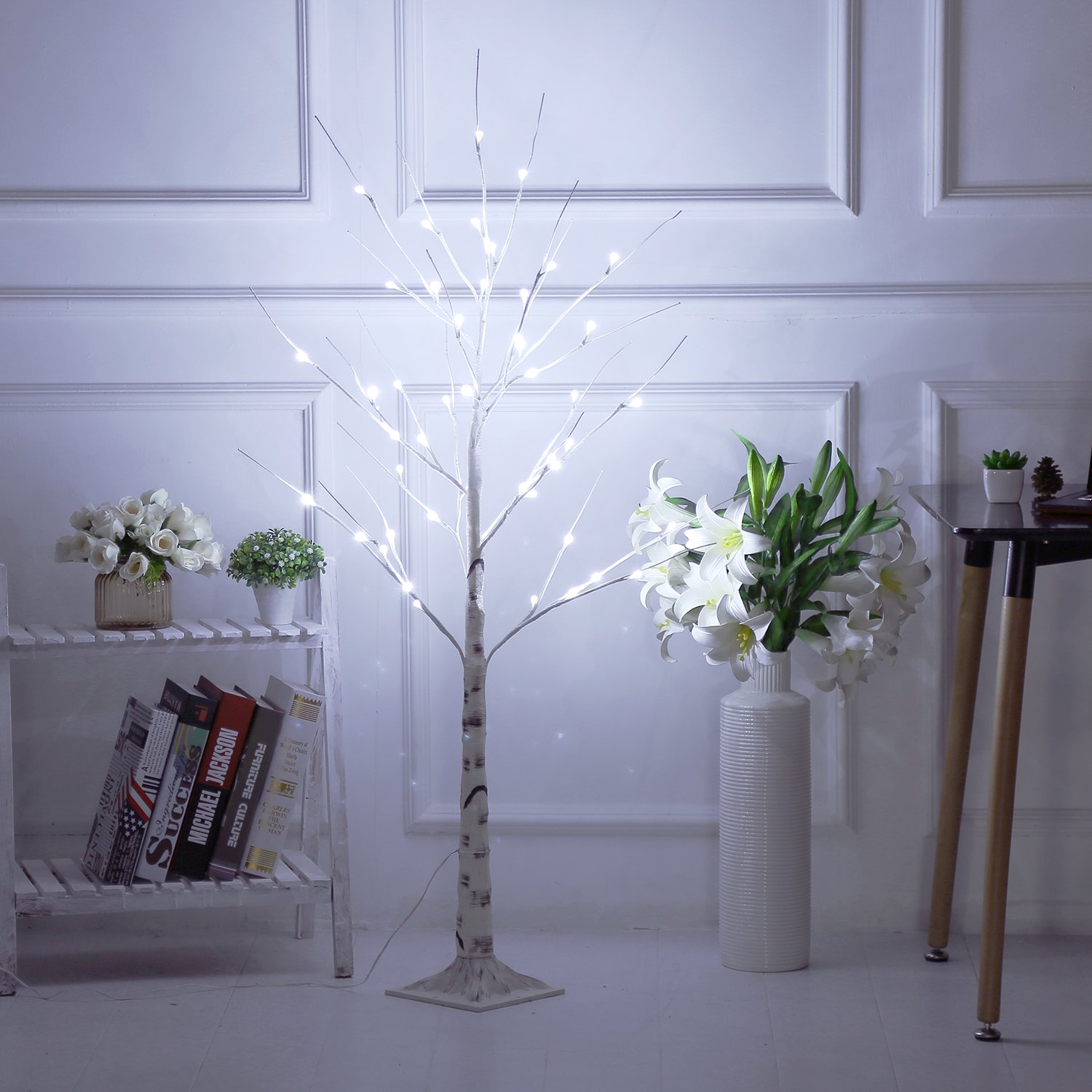 Bolylight LED Birch Tree 4ft 48L LED Christmas Decorations Lighted Tree Decor for Bedroom/Party/Wedding/Office/Home Outdoor and Indoor Use White