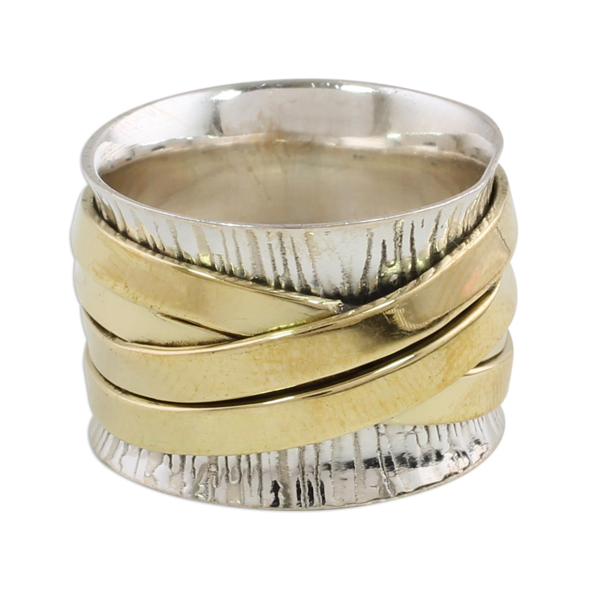 NOVICA .925 Sterling Silver Brass Band Ring 'Crisscrossing Grace'