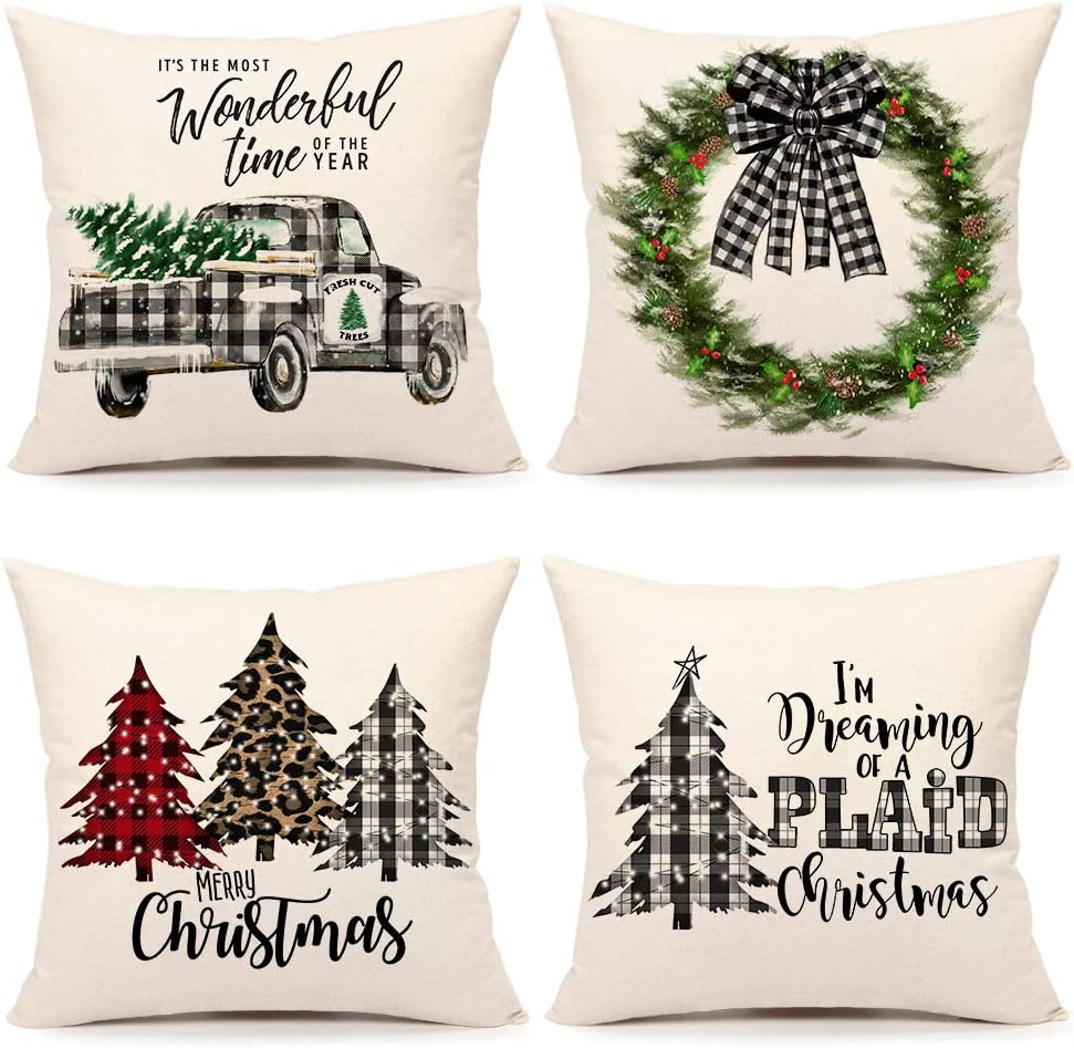 Amazon Com 4th Emotion Farmhouse Christmas Pillow Covers 18x18 Set Of 4 Country Christmas Decorations Black And White Buffalo Plaid Truck Tree Throw Pillow Cases Cushion Cover Winter Holiday Home Decor Home