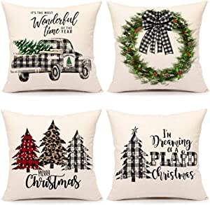 4TH Emotion Buffalo Check Plaids Christmas Tree Truck Throw Pillow Cover Farmhouse Cushion Case for Sofa Couch 18 x 18 Inches Cotton Linen Set of 4