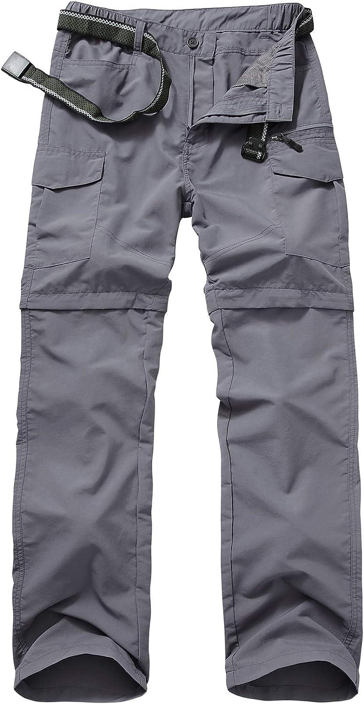 6055 Grey 42 Mens Hiking Pants Zip Off Convertible Quick Dry Lightweight Outdoor Fishing Travel Safari Pants