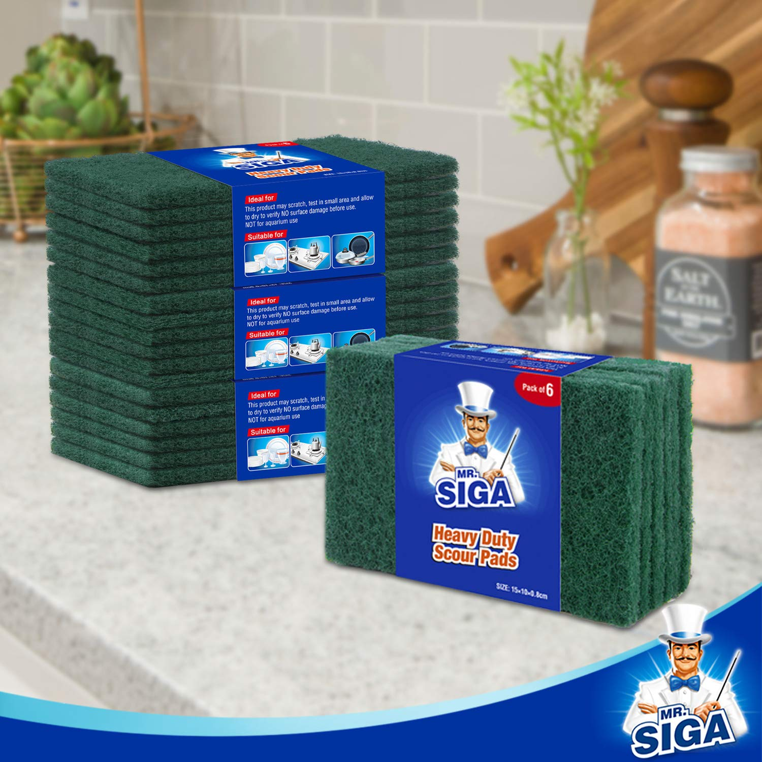 MR.SIGA Heavy Duty Scouring Pads, Household Scrubber for Kitchen, Sink, Dish, 24-Pack, 3.9 x 5.9 inch (10 x 15 cm), Green by MR.SIGA (Image #6)