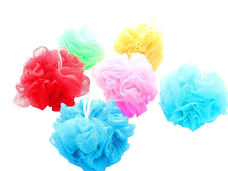 Badeschwamm Duschkneul 6 Stück 50g 12cm bunt farblich sortiert Elina Med + Care-Wert Waschhandschuh gratis! Jean Products SW10254