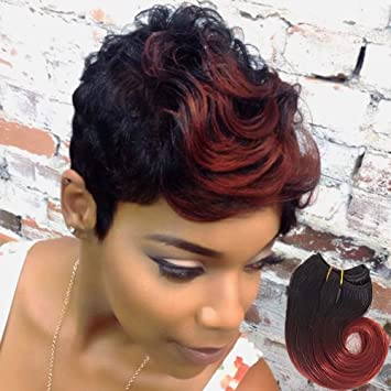 Amazoncom Showjarlly Short Ombre Sew In Human Hair Weave 6