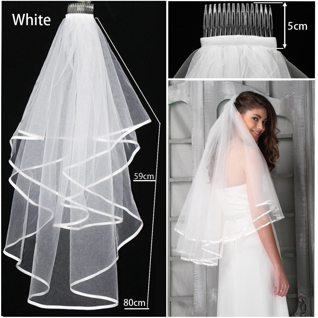 Ivory White Veil Wedding Bride Bachelorette To Be Fancy Dress Hen Night Party