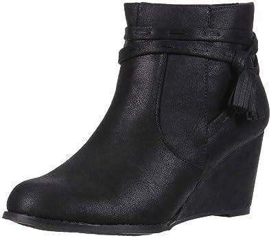e4f6dc3f4f Sugar HIYA Women's Casual Platform Wedge Heel Ankle Boot with Side Tassels,  Black Fabric,
