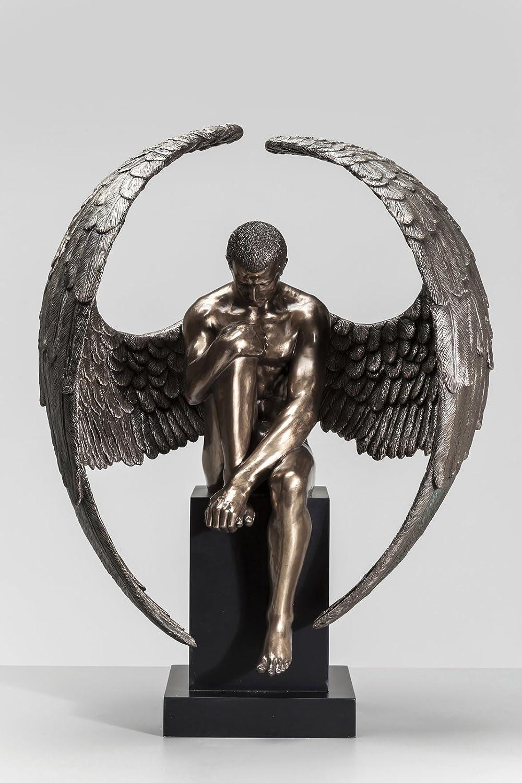 Kare Design Deko Figur Nude Sad Angel, große Dekofigur, Dekoobjekt, Dekoration Wohnzimmer, große Skulptur, Engelsfigur sitzend (H/B/T) 63x48x32cm