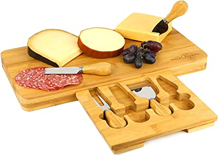 Bamboo Cheese Board Wooden Serving Platter Integrated Speciality 4 Piece Cheese Knife Set M W Amazon Co Uk Kitchen Home