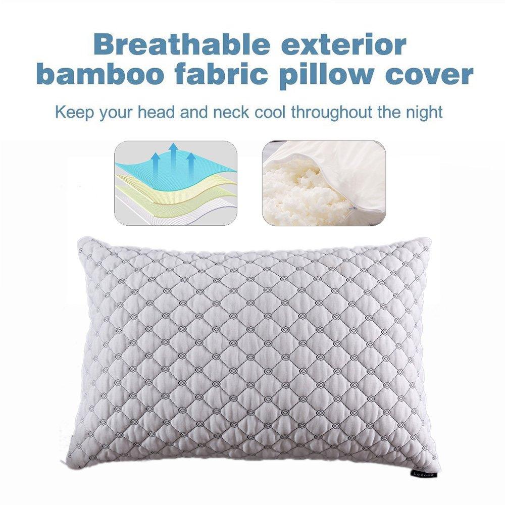 Hotel Comfort Premium Bamboo Memory Foam Pillow Queen Size Hypoallergenic Cover