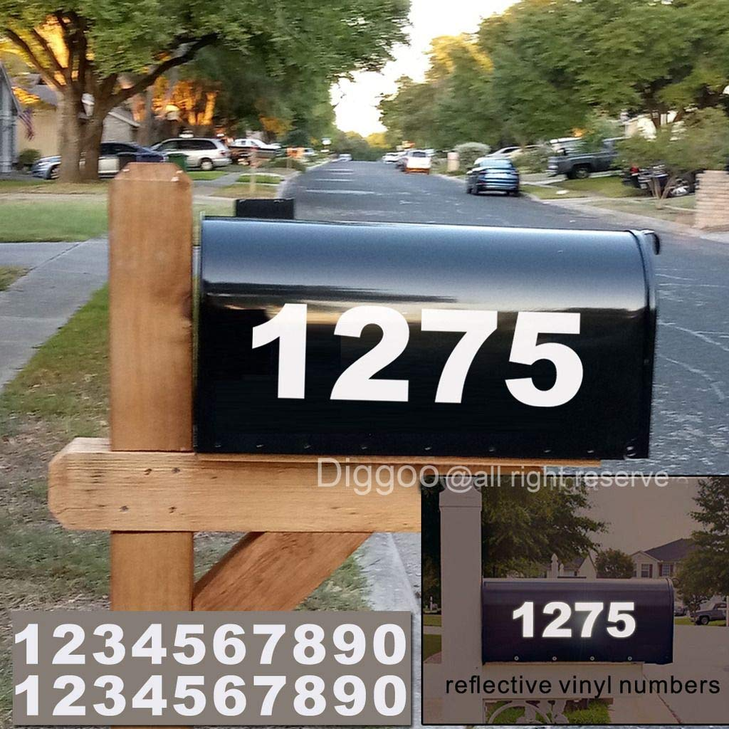 Address Number Cars Signs Diggoo Reflective Mailbox Numbers Sticker Decal Die Cut Bold Gothic Style Vinyl Number 3 Self Adhesive 3 Sets for Mailbox Window Business Trucks Door Home