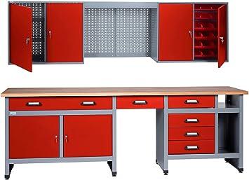 Kupper Werkbank Set 240 Cm Rot In Verschiedenen Hohen 84 Cm Amazon De Baumarkt