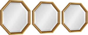 Kate and Laurel Calter Octagon Framed Mirror Set, 3 Piece, Gold, Glamorous Wall Decor