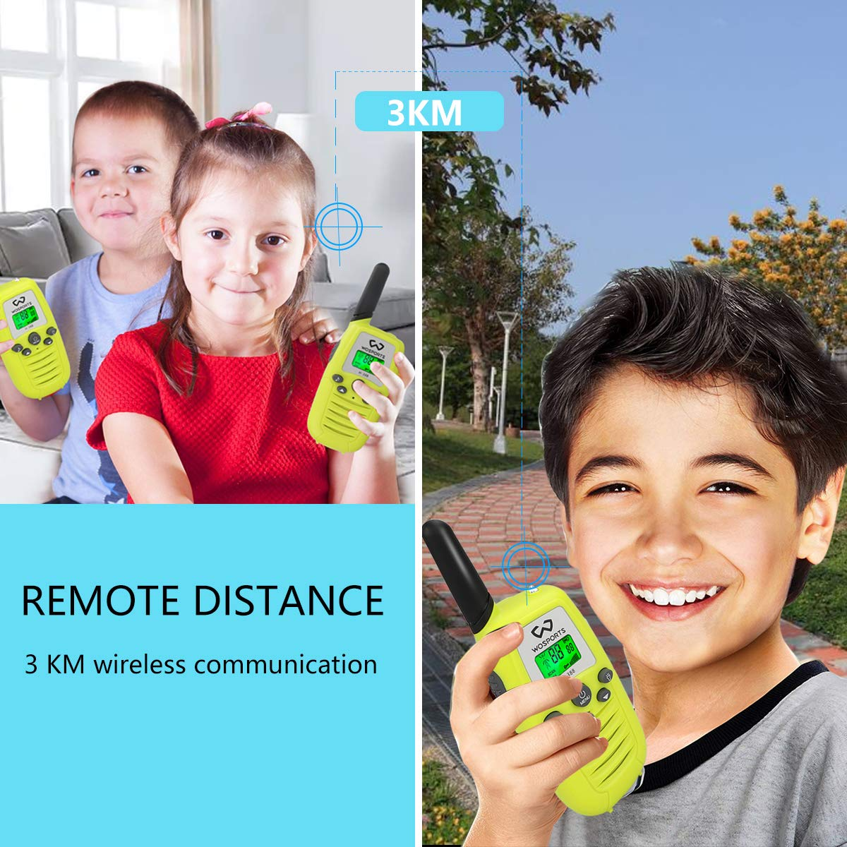 WOSPORTS Kids Walkie Talkies, 3 Pack Two Way Radios with Belt Clip, 3 KM Range Children Toy for Outdoor Adventures Game, Camping, Hiking by WOSPORTS (Image #4)