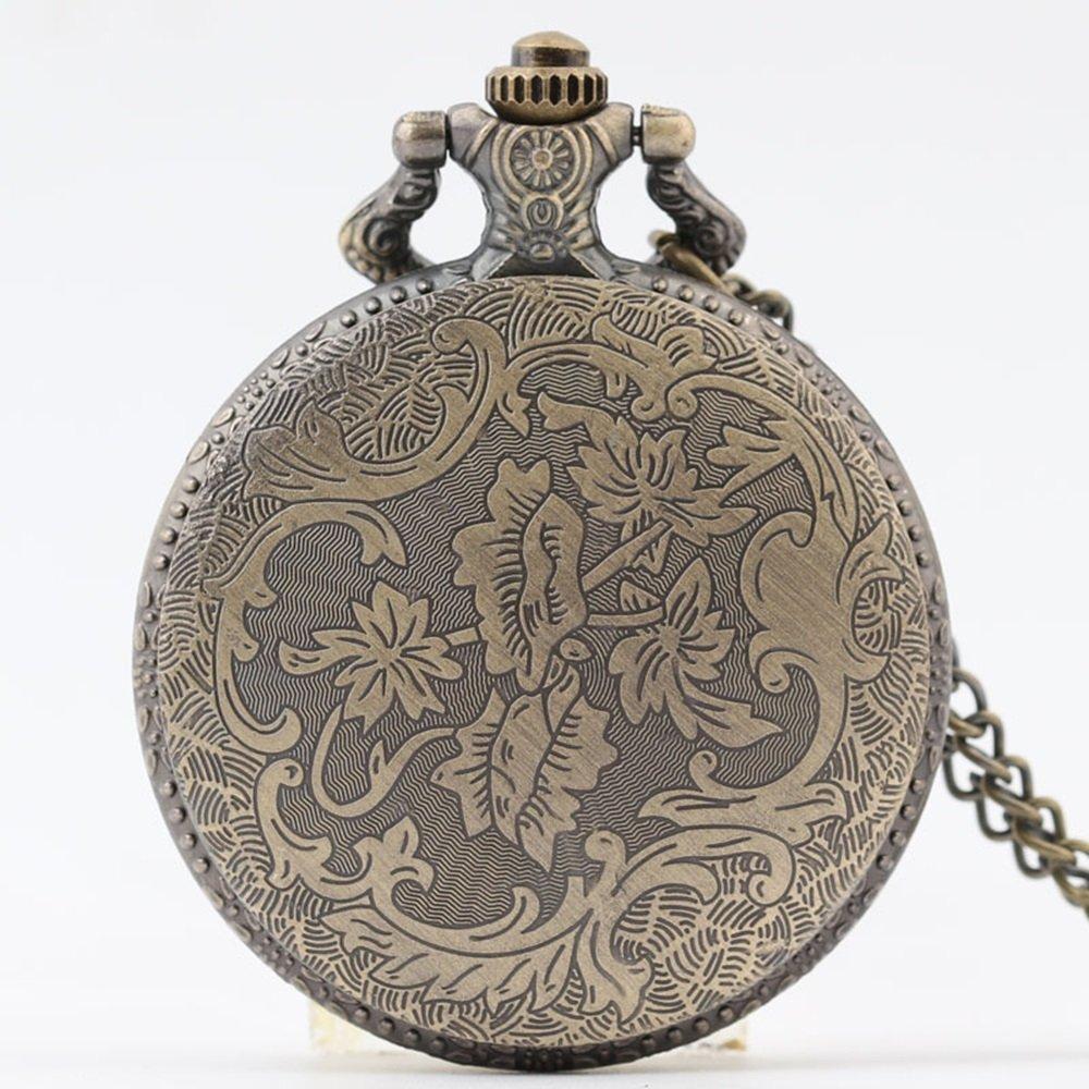 Shirleyle Vintage Bronze Quartz Pocket Watch With Chain Christmas Wedding Gift For Women Men by Shirleyle (Image #5)