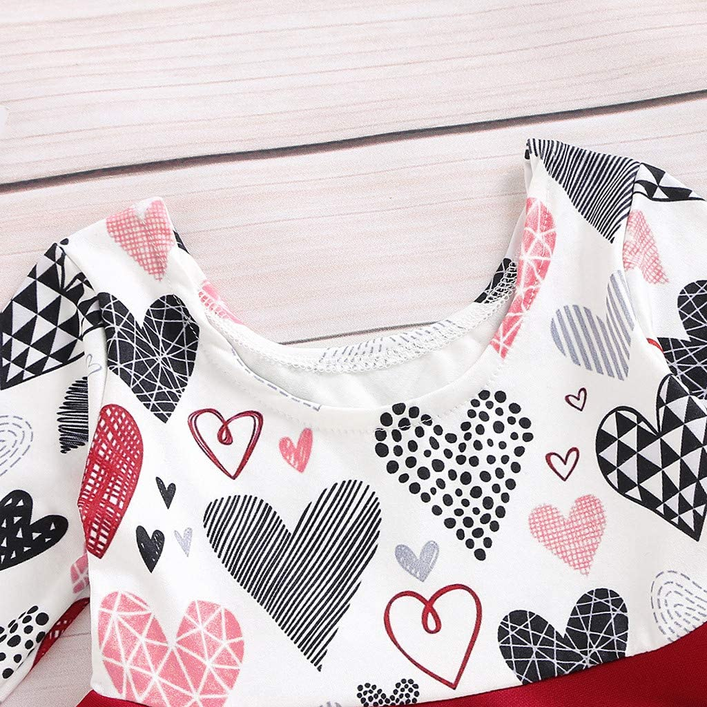 Toddler Baby Girl Dresses Long Sleeve Valentines Day Heart Print Princess Dress Clothes Clothing Set Onesie Outfit