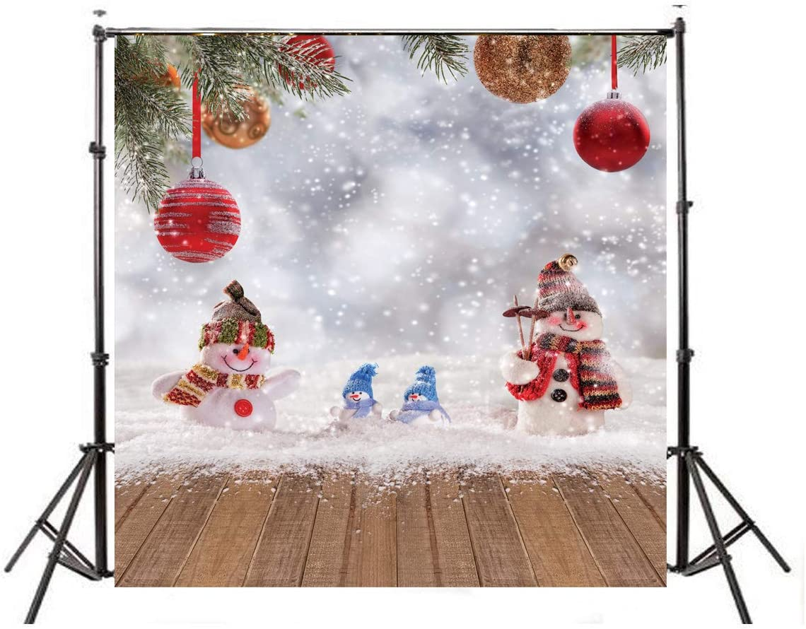 LYWYGG 10x10ft Christmas Ball Snowman Photo Background White Snowflake Wood Background Christmas Decoration Backdrops for Studio Prop CP-80