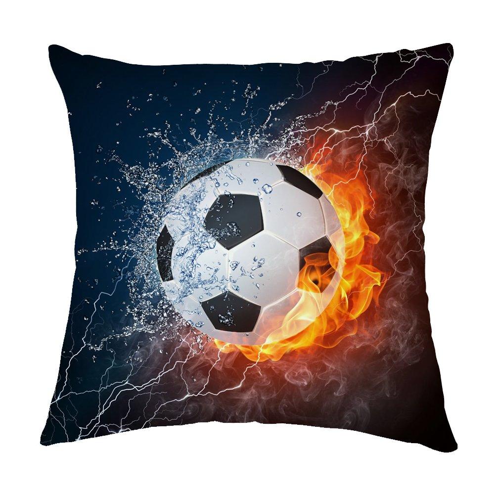 Pillow Covers Balón de fútbol Agua y Fuego poliéster Ropa de Cama ...