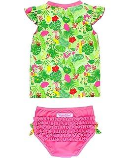 7de1e3b99d RuffleButts Baby Toddler Girls Rash Guard 2-Piece Swimsuit Set - Tropical  Print UPF