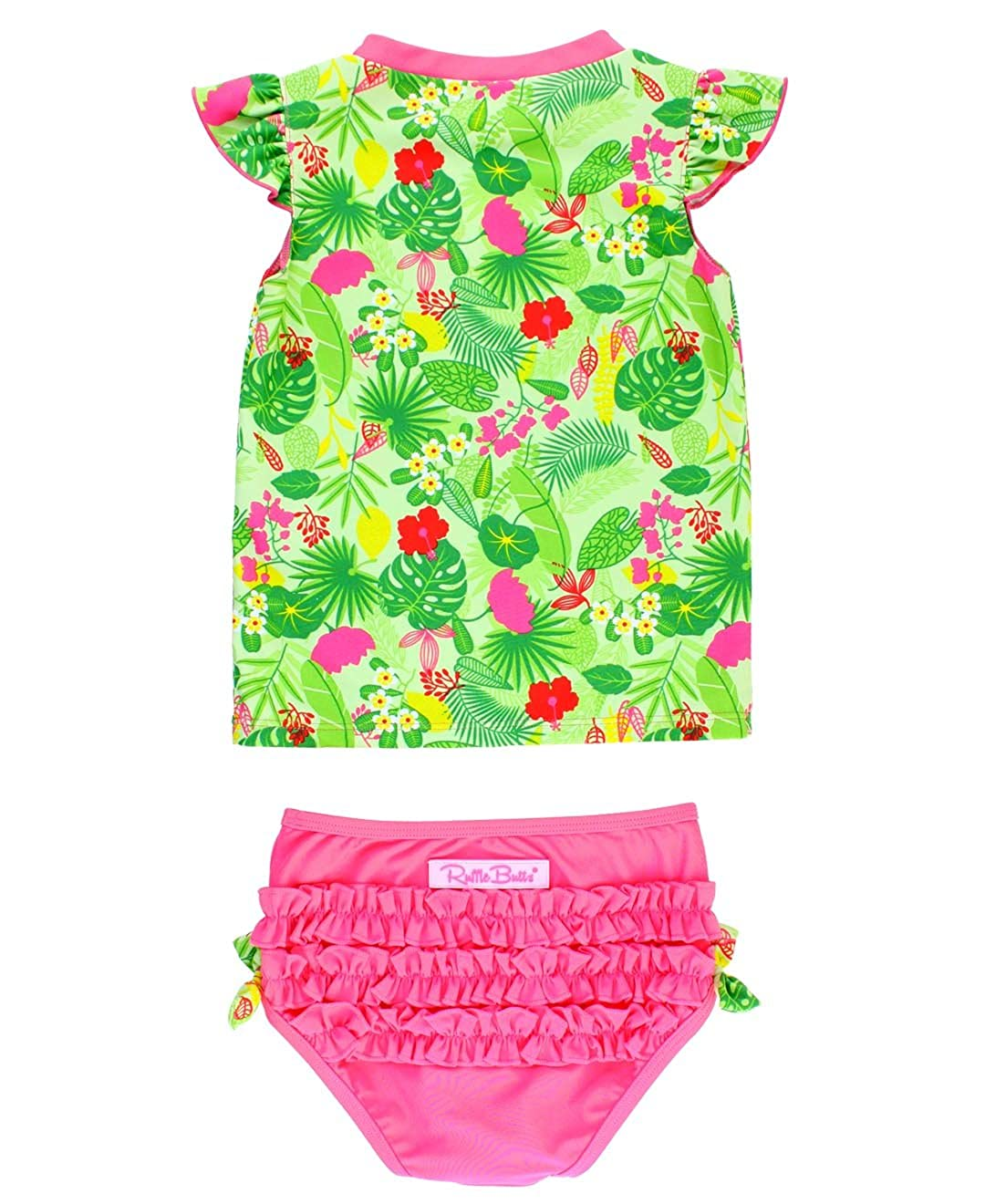 RuffleButts Baby/Toddler Girls Rash Guard 2-Piece Swimsuit Set - Tropical Print UPF 50+ Sun Protection RGSGNXX-CAPV-BABY