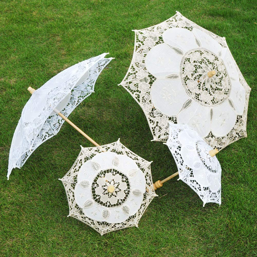 Mini Chic Lace Umbrella Parasol White Embroidery Handmade Sun Umbrella Costume Accessories Wedding Party Decoration Photo Props for Bridal Girls Kids (White) by Codiak-Decor (Image #3)