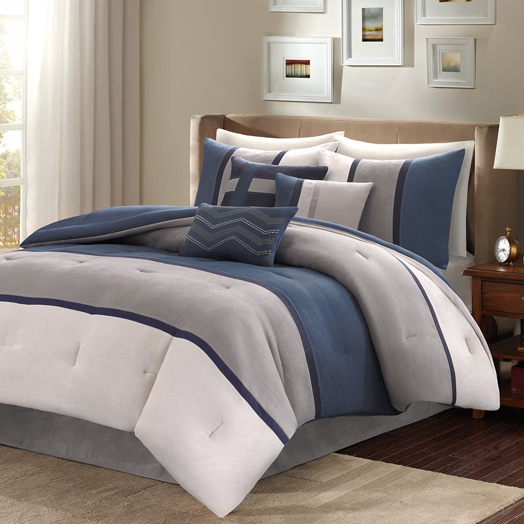 Madison Park MP10-1316 Palisades 7Piece Comforter Set Queen , Blue, Queen,Blue,Queen