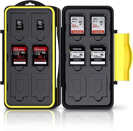 Deyard Resistente Impermeable Estuche para Tarjetas de 12 x Memoria SD + 12 x MicroSD (Negro): Amazon.es: Electrónica