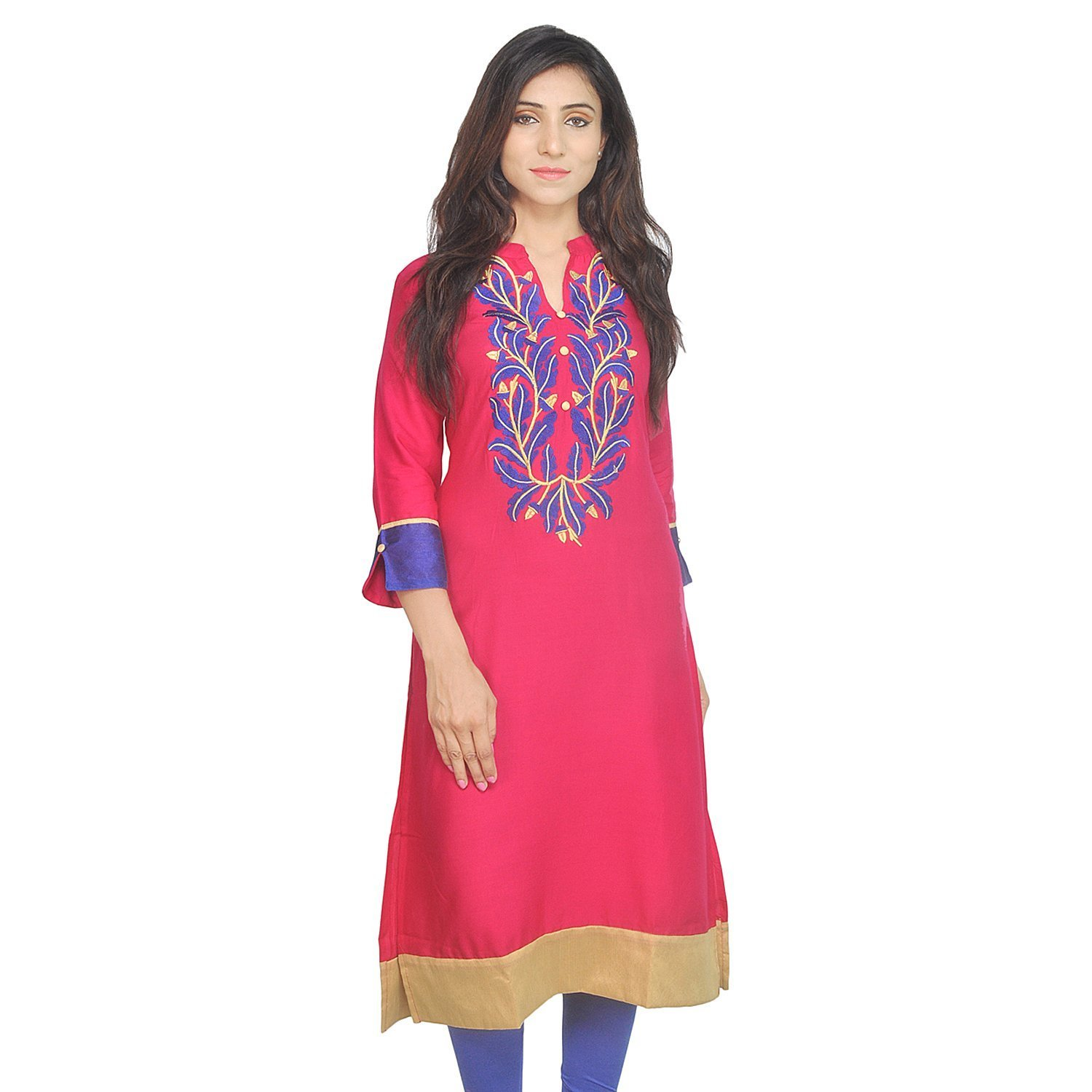 Chi Chi Chichi Women 3/4 Sleeve Tunic Top Embroidered Kurti Blouse by CHI