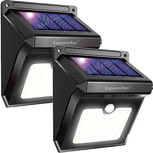 Lámpara Solar Exterior,Luposwiten Lámparas Solares 400 Lumen, 28LED Luz Solares de Pared con