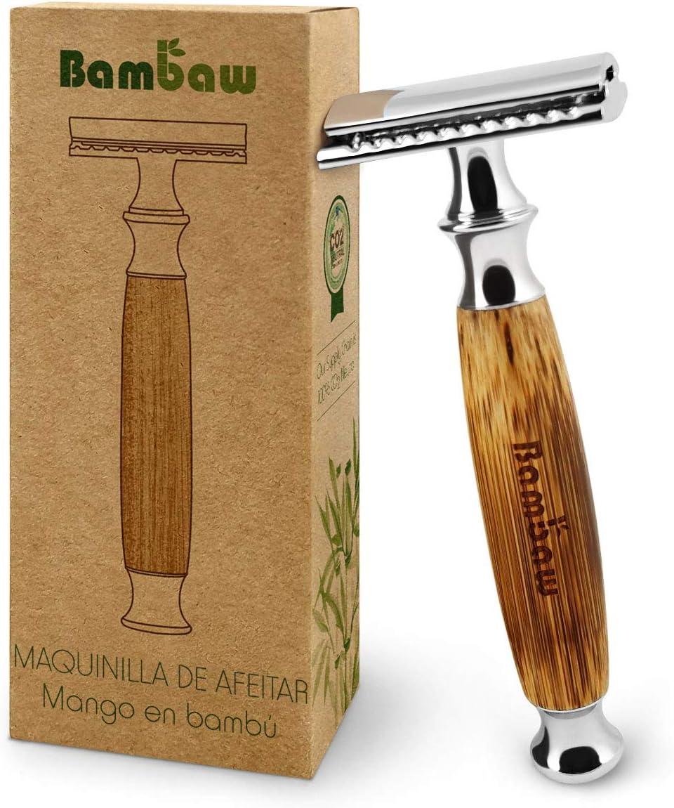 Maquinilla de Afeitar Clásica | Mango de Bambú Natural | Cuchilla de Afeitar Clásica | Afeitado Perfecto | Gran Calidad | Sostenible y Duradera | Compatible con Todas las Hojas de Afeitar | Bambaw