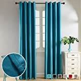 Top Finel Thermal Insulated Solid Blackout Curtains Eyelets Velvet Window Treatments for Living Room Bedroom 52x84 inch, 130x215 cm, Set of 2 Panels, Grommets, Teal