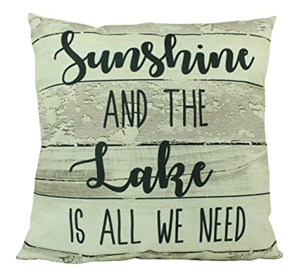 Amazon.com: UniikStuff Sunshine and The Lake | Throw Pillow ...