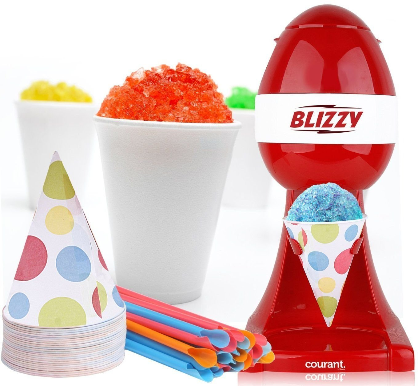 BLIZZY Snow Cone Maker Set | Includes: (1) Blizzy Electric Ice Shaver (20) 6 oz. Paper Cone Cups (20) Plastic Straws by Blizzy