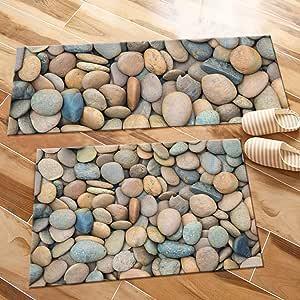 Amazon Com Hvest 2pcs Cobblestone Area Rug Set Pebble Carpet Non Slip Runner Rug For Living Room Bedroom Kitchen Floor Mat 1 4 X 4 1 4 X 2 Home Kitchen