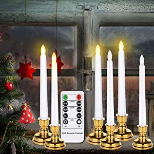 Window Candles with Remote Timers, 6 Packs Battery Operated Led Taper Flickering Flameless Electric Candles Lights for Home Party Holiday Christmas Decorations (6 Packs Window Candles with Holders)