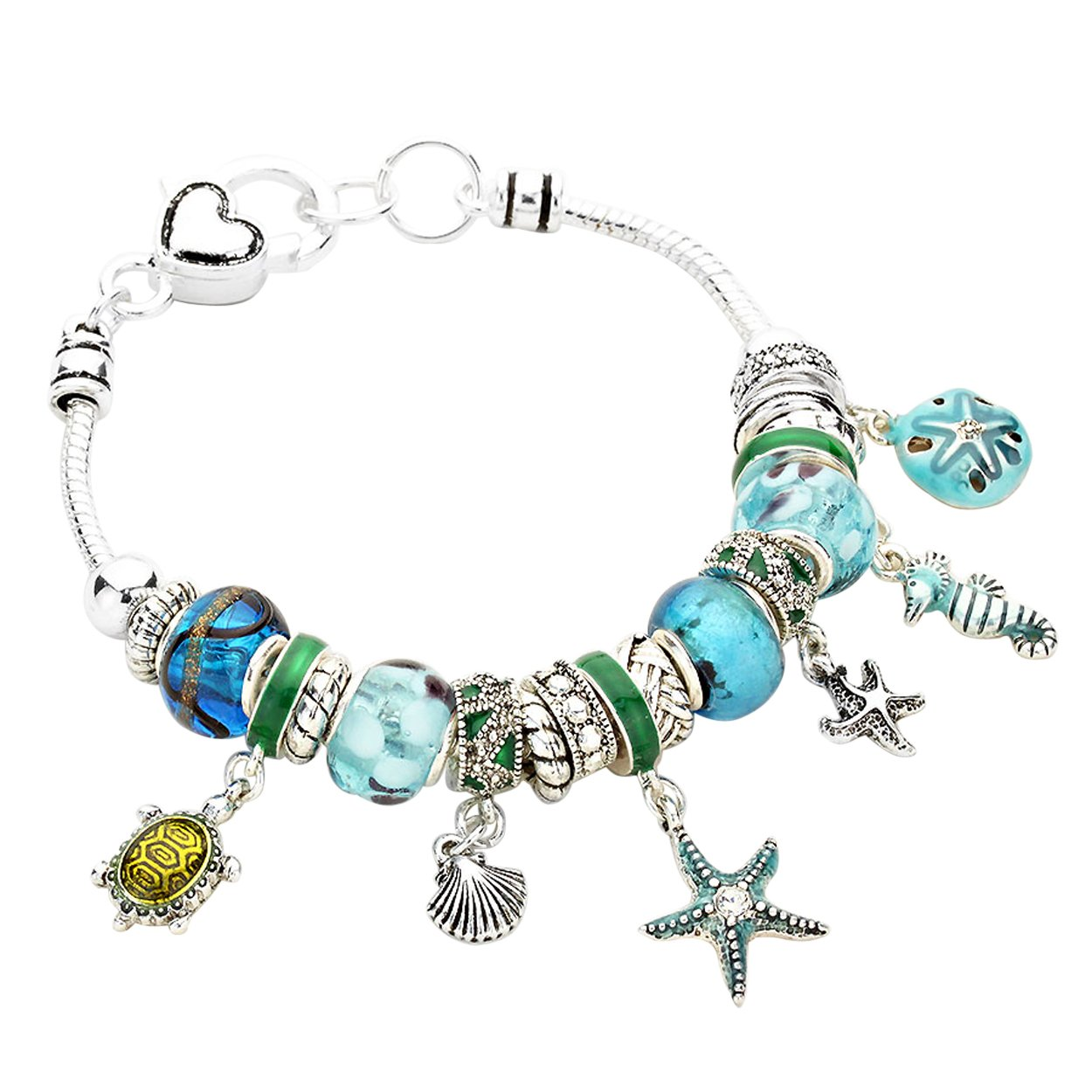 Rosemarie Collections Women's Pandora Style Charm Bracelet Starfish Seahorse Turtle (Blue)