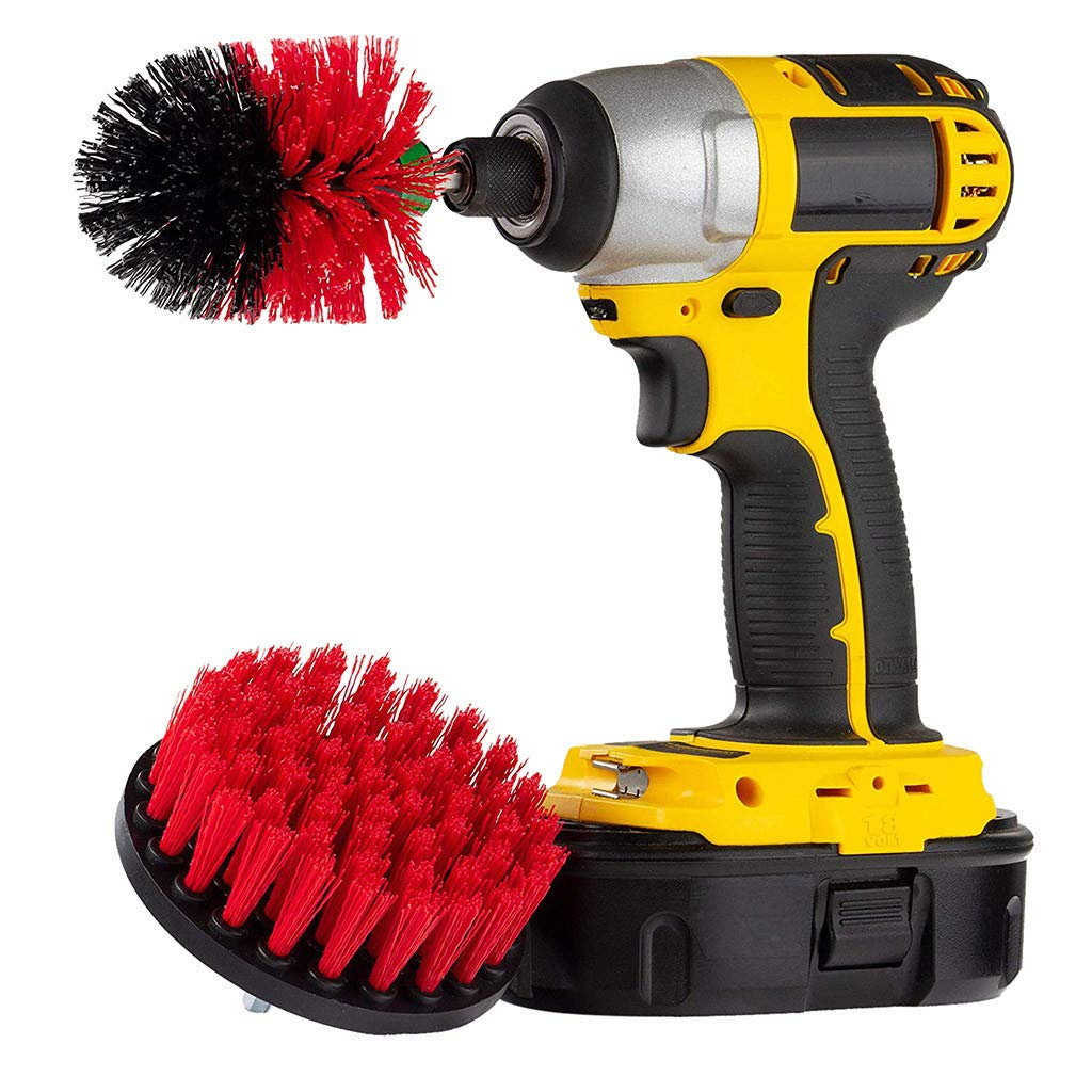Drill Brush  2Pcs Grout Power Scrubber Cleaning Brush Tub Cleaner Combo Tool Kit (Red)