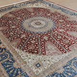 Yilong 8 x10  Large Handmade Silk Carpet Traditional Oriental Isfahan Geometric Medallion Floral Hand Knotted...